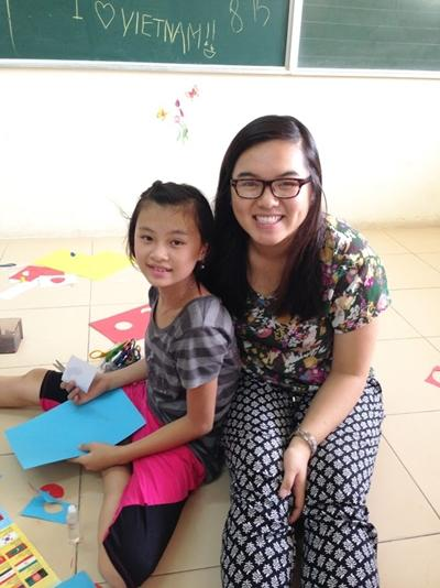 A Projects Abroad Care volunteer from America works with children at the Friendship Village placement in Vietnam.