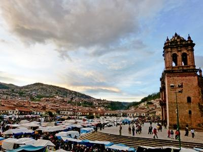 A volunteer captures a sunset over the local market on a volunteer project in Cusco, Peru