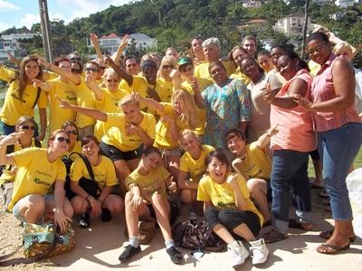Volunteers in Jamaica pose for a happy photo at the end of their work on their project