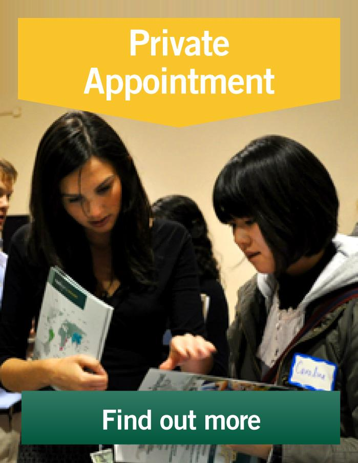 Volunteers can make private appointments to meet staff members and learn about volunteering abroad