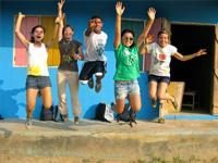 Global Gap volunteers jump for joy on one of their 5 projects and destination over the course of the year
