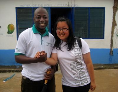 Volunteer poses with one of our supportive staff members during a visit at her Teaching project placement in Ghana