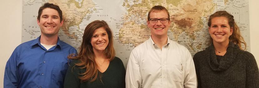 The US Recruitment Team: Christian, Deputy Director for USA; Laura, Program Advisor; Tom, Head of Global Recruitment; Carly, Program Advisor