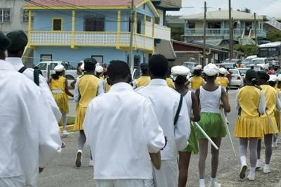 Parade with a marching band in Belize