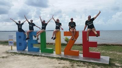 Projects Abroad volunteers take a break at their project in Belize.