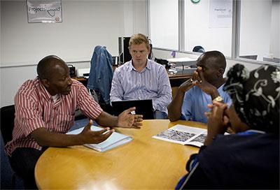Projects Abroad Human Rights volunteer attends a mediation meeting between locals in South Africa