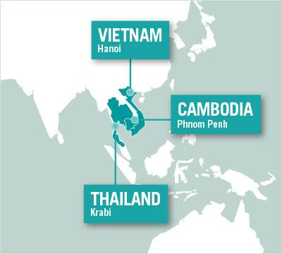 Projects Abroad is based in Hanoi, Vietnam, Phnom Penh, Cambodia, and Krabi, Thailand