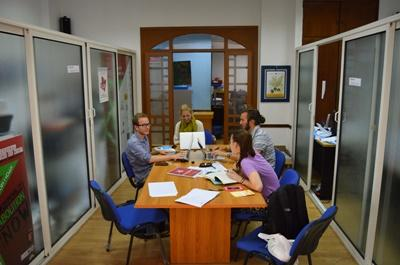 Projects Abroad Human Rights discuss a case at the office in Morocco, North Africa.