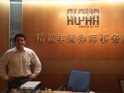 Male volunteer at the Law & Human Rights office in one of the Projects Abroad placements in Asia