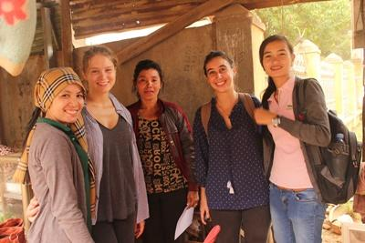 A local beneficiary receives a visit from Projects Abroad interns at the Microfinance Project in Cambodia, Asia