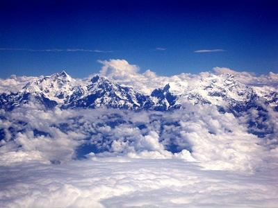 The snow capped peaks of Mount Everest in Nepal, Asia.