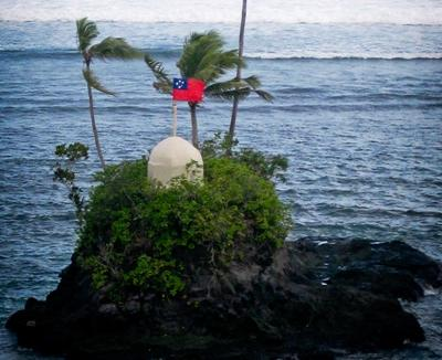 Island with the Samoan flag at the volunteer project placement in the South Pacific