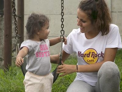 A Projects Abroad Care volunteer plays with a child at her Care placement in Heredia, Costa Rica.