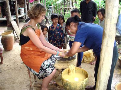 Volunteers make traditional Khmer pottery as part of a Volunteer Travel trip with Projects Abroad