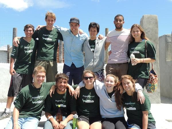 A group of gap year volunteers at the Building project in Cape Town, South Africa.