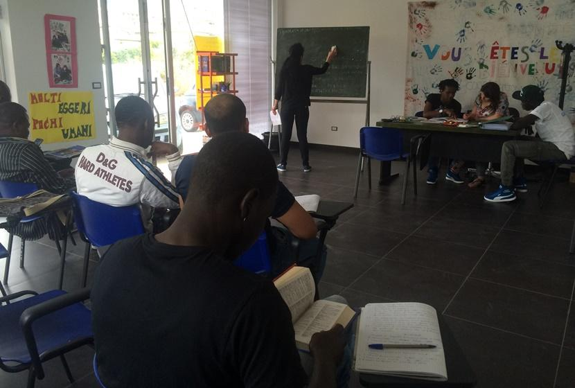 Refugees are taught at a day care center on Project Abroad's Refugee Project in Italy