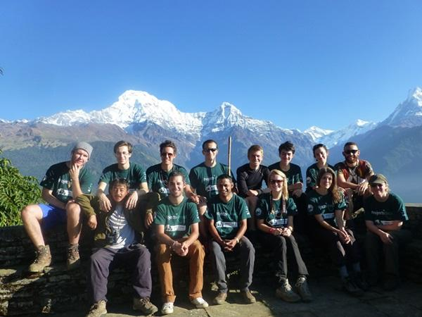 Group photo of volunteers on the Conservation & Environment project in Nepal