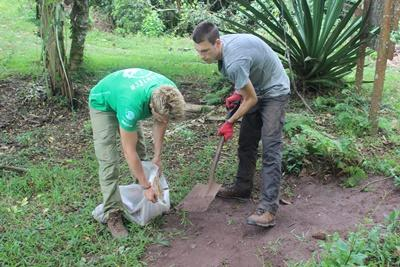 Projects Abroad Ecuador volunteers visit a farm to learn about agriculture practices in the Galapagos Islands.