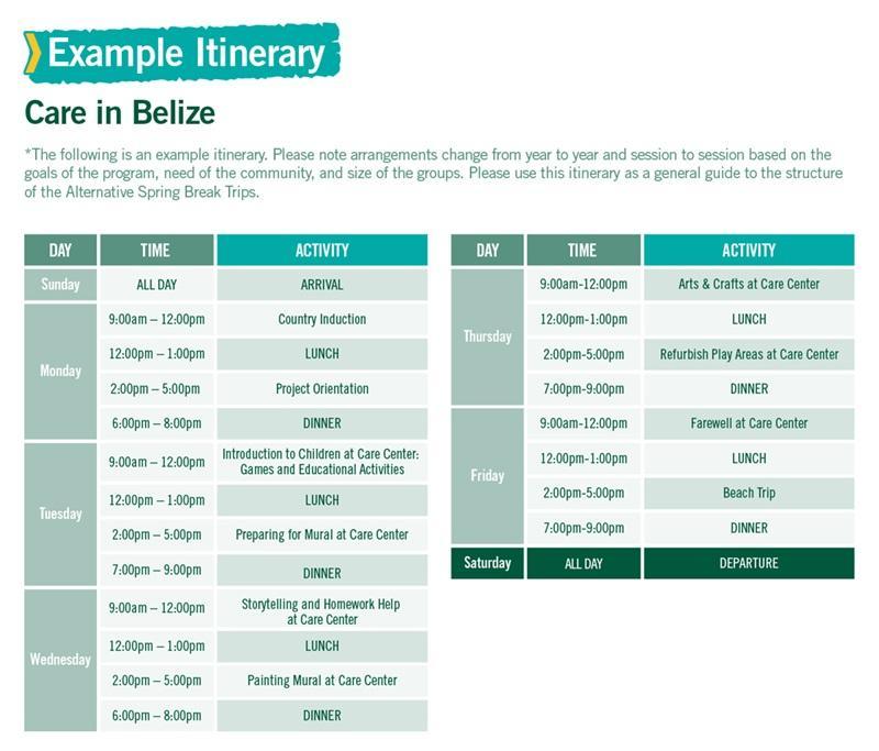 Care in Belize Alternative Spring Break sample itinerary