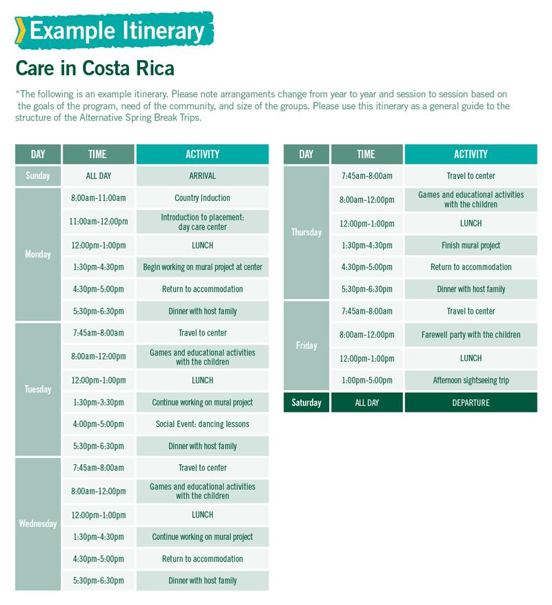 Care in Costa Rica Alternative Spring Break sample itinerary