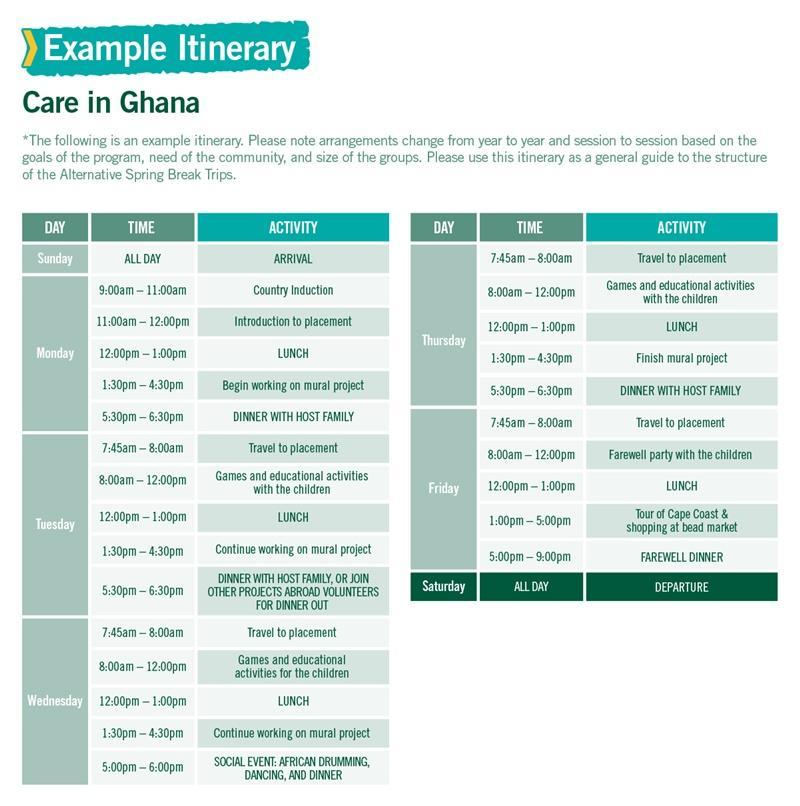 Care in Ghana Alternative Spring Break sample itinerary