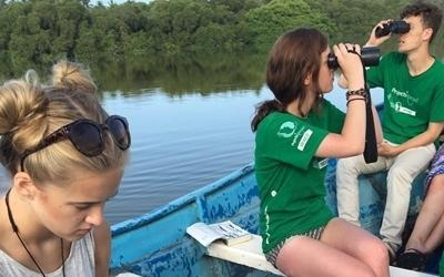 Projects Abroad Conservation volunteers conduct a bird census at a lagoon in Mexico, Latin America.