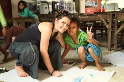Volunteer with Children in a Care Center in Cambodia, Asia