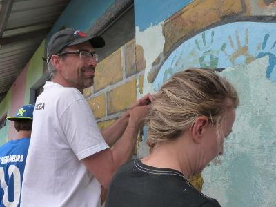 Projects Abroad volunteers assist with the renovation of a building at a Care placement in Ecuador.