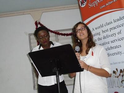 A Projects Abroad Jamaica volunteer gets involved in a presentation about HIV/AIDS for World AIDS Day.