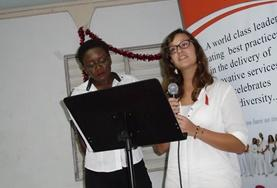 A volunteer gives a presentation about preventing HIV and AIDS in Jamaica.