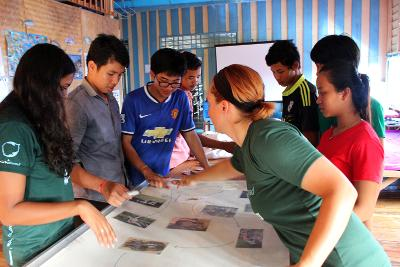 Projects Abroad Conservation volunteers run an educational activity for school children in Cambodia.