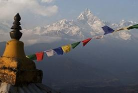Prayer flags flutter on the Himalayan Mountain Conservation Project in Nepal.