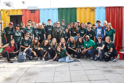 A group of high school students volunteering together as a group in Cape Town, South Africa
