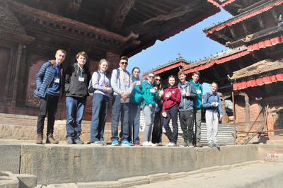 A group of students sightseeing in Kathmandu, Nepal on a custom volunteer abroad trip with Projects Abroad