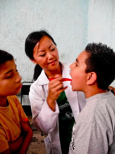 Dentistry Electives Student in session with a teenager in a clinic in Mexico