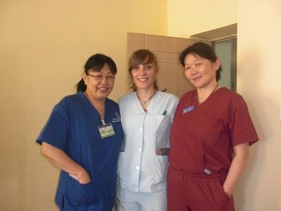 Nursing Elective volunteer with local support staff in a hospital in Mongolia
