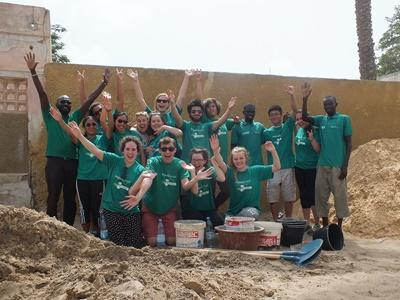 High School Special volunteers at their Building placement in Senegal, Africa