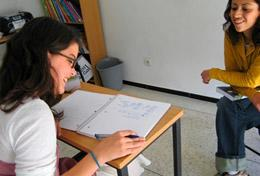 A volunteer learns Arabic as part of her Care & Arabic High School Special Project in Morocco.