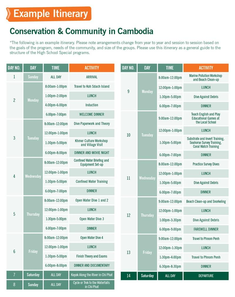 High School Special sample schedule for Conservation & Community in Cambodia