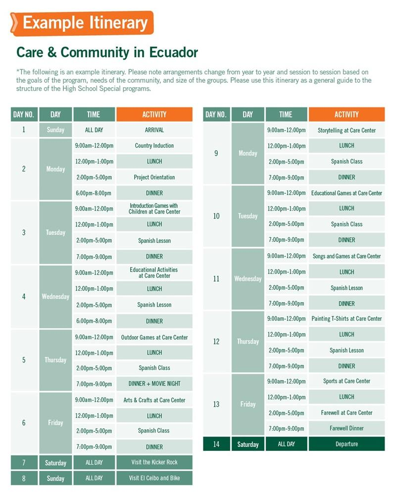 High School Special sample schedule for Care & Community Work in Ecuador