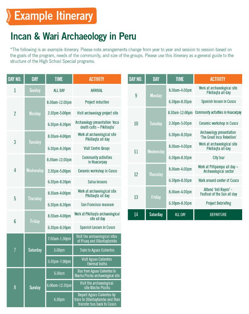 High School Special sample schedule for the Inca project in Peru