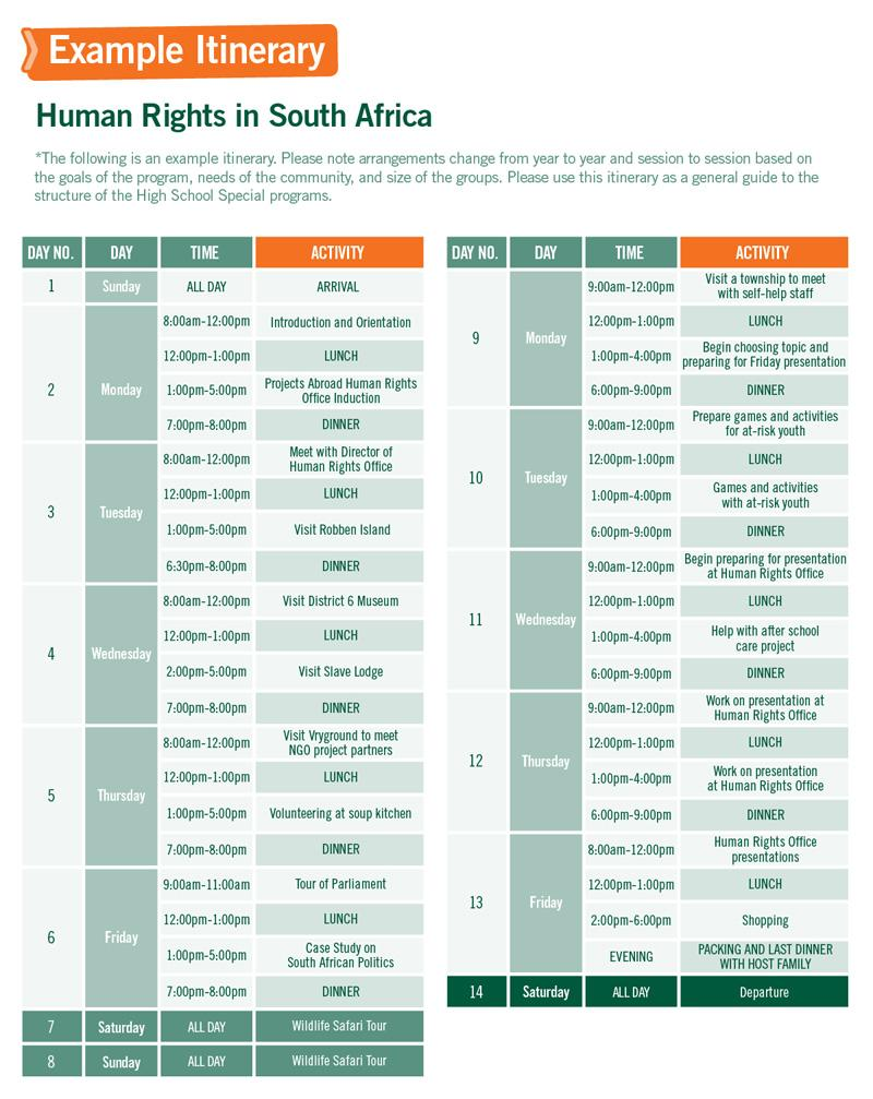 High School Special sample schedule for Human Rights in South Africa