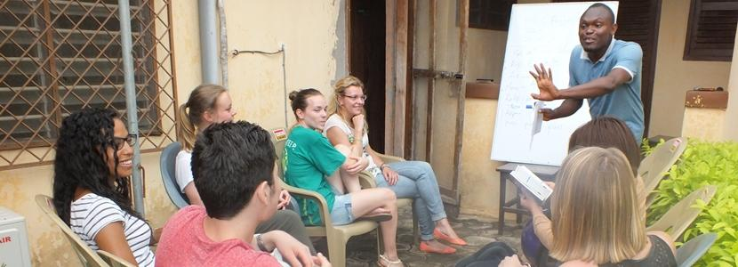Projects Abroad volunteers participate in a language course abroad.