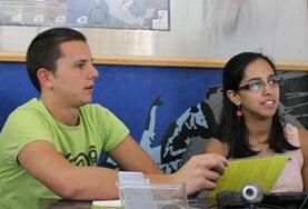 Volunteers on the Mexico International Development Internship have a meeting with locals.