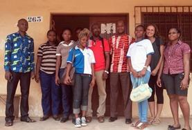 Volunteers based in Togo work at their International Development Project placement.