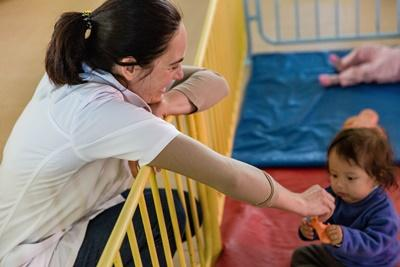 Projects Abroad Social Work interns spends time with a Bolivian child at a care facility in Cochabamba.