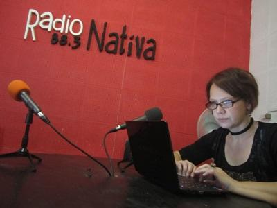 Projects Abroad Broadcast intern at her workstation in Argentina