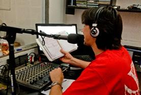 A volunteer learns about broadcast journalism at his placement in Argentina.
