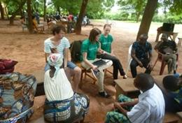 Volunteers on the Journalism Internship in Togo conduct interviews.