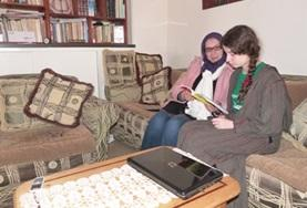 A volunteers learn Arabic in Morocco during her volunteering trip.
